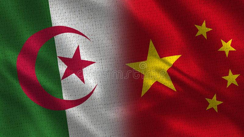 Algeria and China Realistic Half Flags Together vector illustration