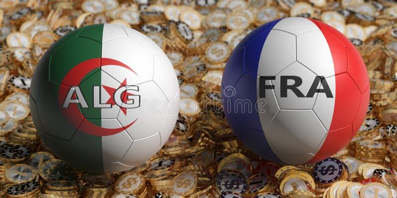 Algeria contro France Soccer Match - palline da calcio in Algeria e Francia colore nazionale su un letto di monete d'oro royalty illustrazione gratis