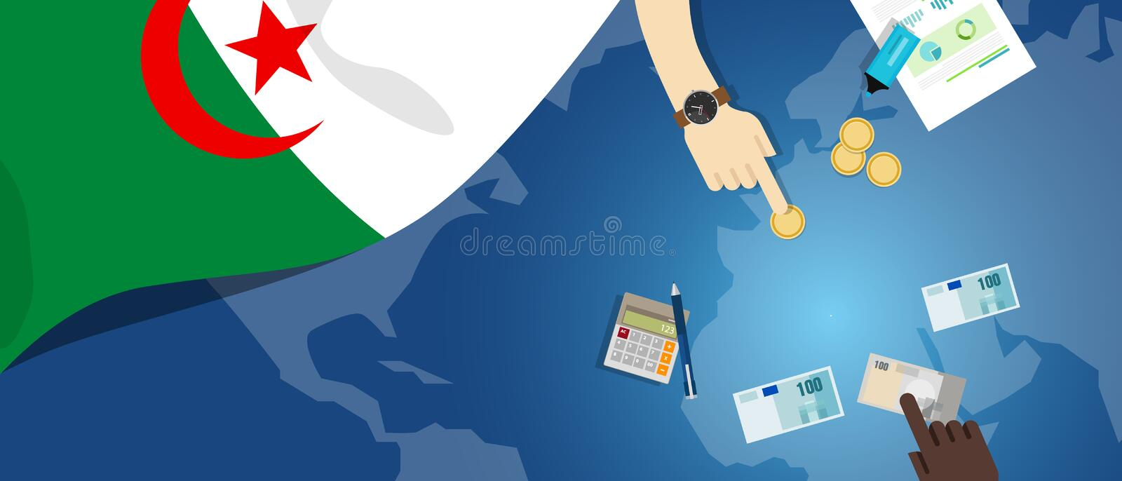 Algeria economy fiscal money trade concept illustration of financial banking budget with flag map and currency royalty free illustration