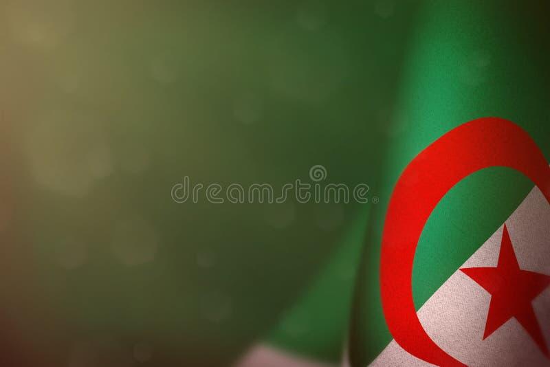 Algeria flag for honour of veterans day or memorial day. Glory to the Algeria heroes of war concept on teal, sea-green dark velvet. Algeria hanging flag for royalty free illustration