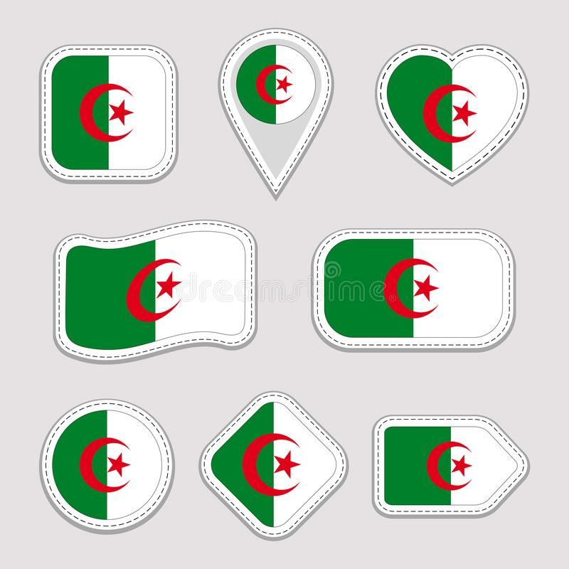 Algeria flag stickers set. Algerian national symbols badges. Isolated geometric icons. Vector official flags collection. Sport pag vector illustration