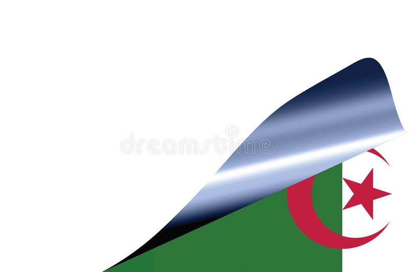 Algeria flag on white. With curled page stock illustration