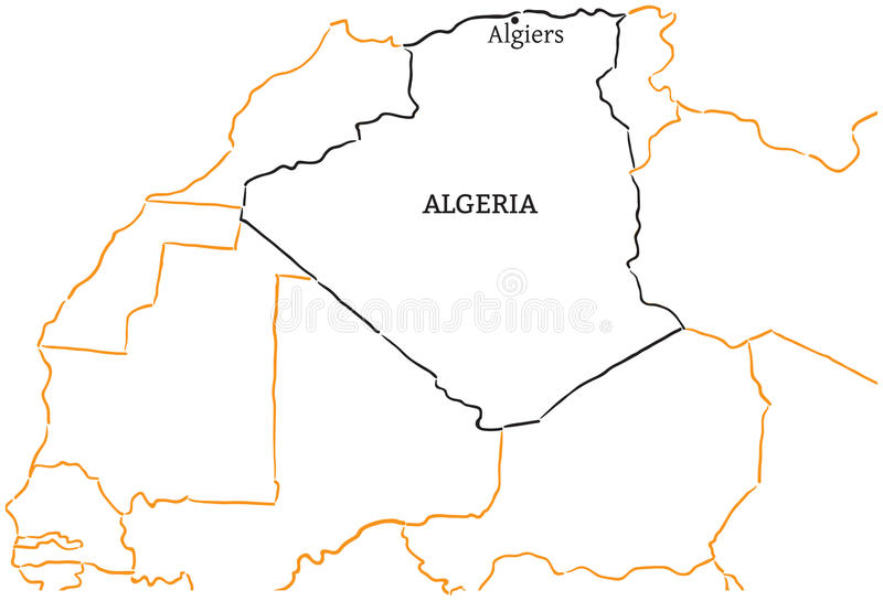 Algeria Handdrawn Sketch Map Stock Vector Illustration of capital
