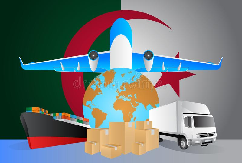 Algeria logistics concept illustration. National flag of Algeria from the back of globe, airplane, truck and cargo container ship vector illustration