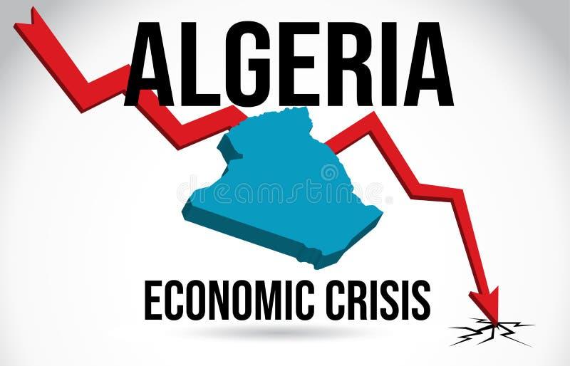 Algeria Map Financial Crisis Economic Collapse Market Crash Global Meltdown Vector. Illustration vector illustration