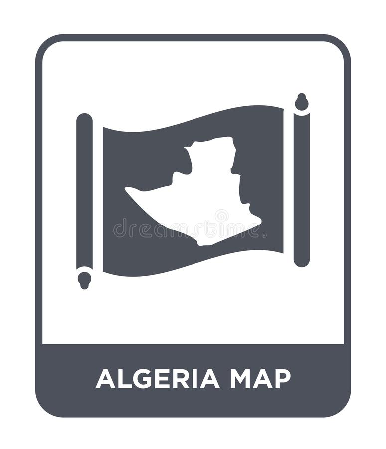 Algeria map icon in trendy design style. algeria map icon isolated on white background. algeria map vector icon simple and modern. Flat symbol for web site royalty free illustration