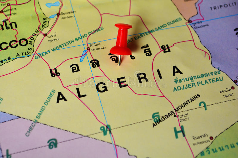 Algeria map. Macro shot of algeria map with push pin royalty free stock photography