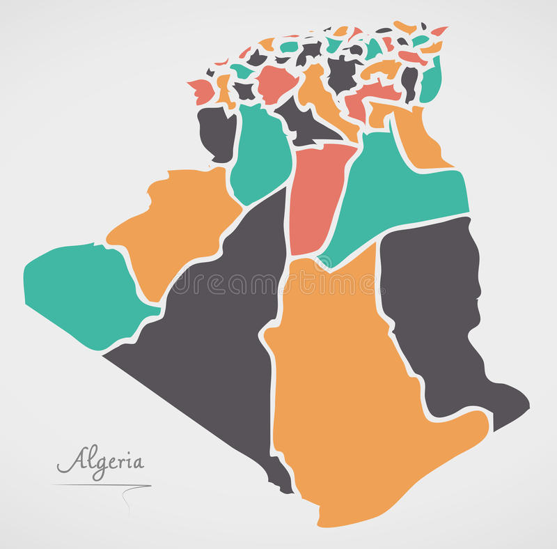 Algeria Map with states and modern round shapes. Illustration royalty free illustration