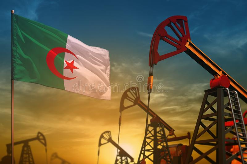 Algeria oil industry concept. Industrial illustration - Algeria flag and oil wells against the blue and yellow sunset sky. Algeria oil industry concept royalty free stock images