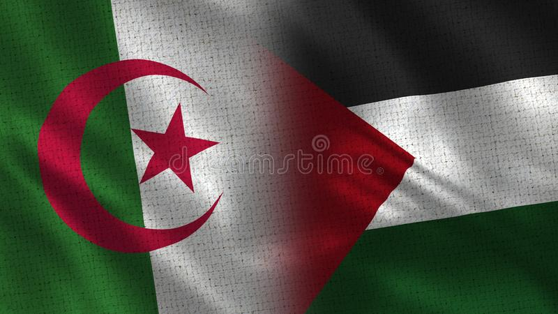 Algeria and Palestine Realistic Half Flags Together stock image