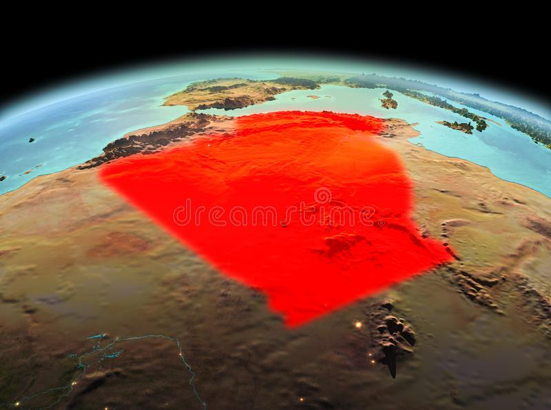 Algeria on planet Earth in space. Morning above Algeria highlighted in red on model of planet Earth in space. 3D illustration. Elements of this image furnished royalty free stock image