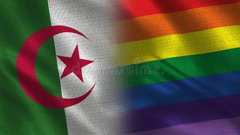Algeria and Pride Realistic Half Flags Together royalty free illustration
