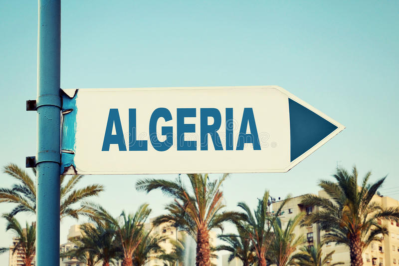 Algeria Road Sign. Travel Destination With Background stock photos