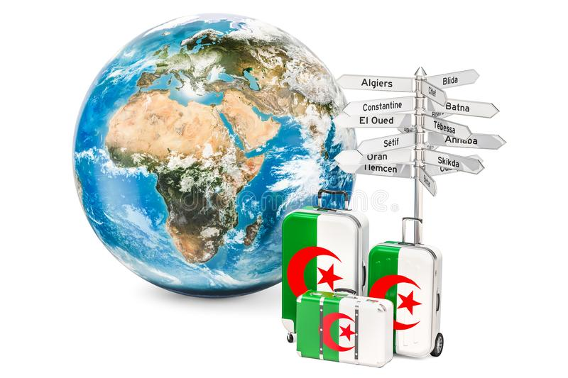 Algeria travel concept. Suitcases with Algerian flag, signpost a. Nd Earth globe royalty free illustration