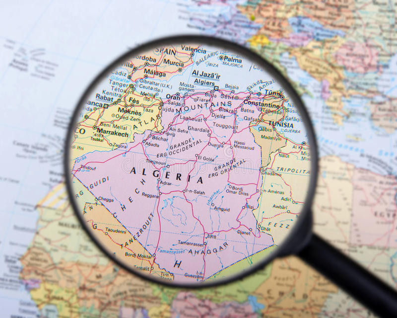 Download Algeria under magnifier stock image. Image of political - 41856801