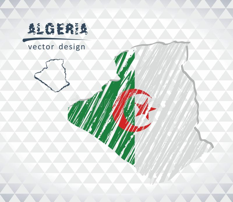 Algeria vector map with flag inside isolated on a white background. Sketch chalk hand drawn illustration. Vector sketch map of Algeria with flag, hand drawn vector illustration