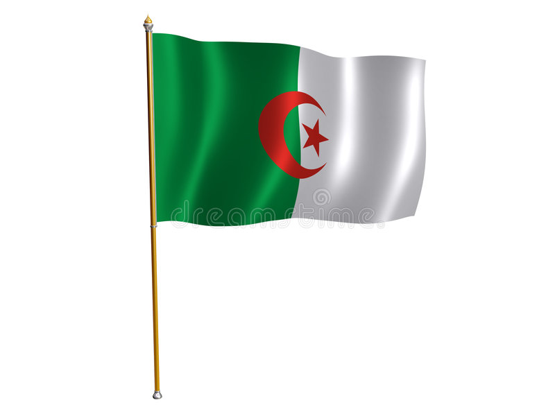Algerian silk flag. Silk flag of Algeria vector illustration