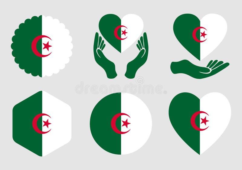 Algerien-Flagge auf dem Hintergrund lokalisiert lizenzfreie stockfotos