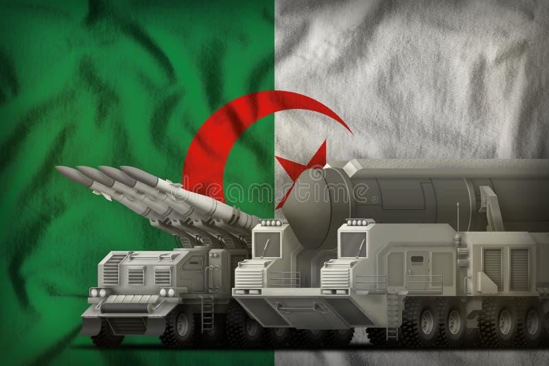 Algerien-Raketentruppenkonzept auf dem Staatsflaggehintergrund Abbildung 3D vektor abbildung
