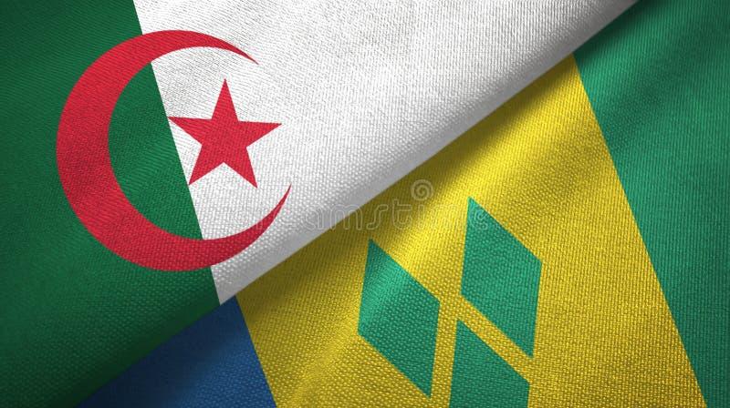 Algerien- und Grenadinen-zwei Flaggentextilstoff stock abbildung