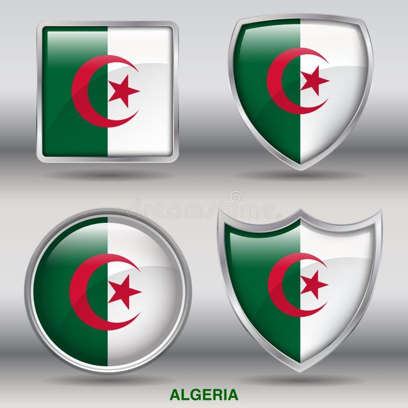 Algeriet flagga i samling för 4 former med den snabba banan vektor illustrationer