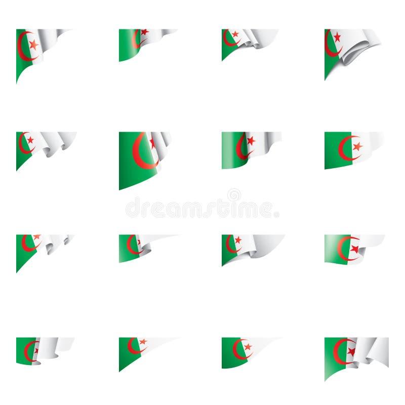 Algeriet flagga, vektorillustration på en vit bakgrund stock illustrationer