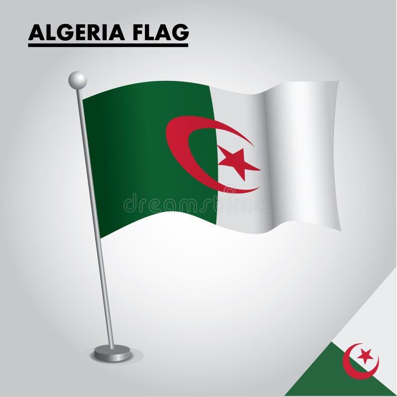 Algeriet flagganationsflagga av Algeriet på en pol stock illustrationer