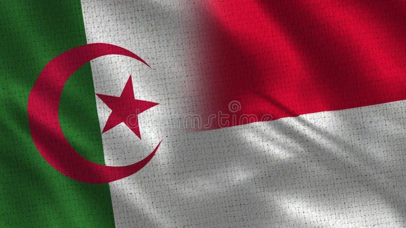 Algeriet och Monaco realistiska halva flaggor tillsammans vektor illustrationer
