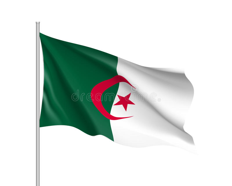 Algeriet realistisk flagga royaltyfri illustrationer