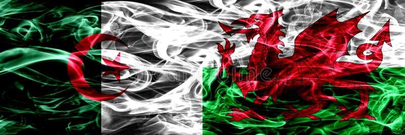 Algerije, Algerijn versus Wales, Welse zij aan zij geplaatste rookvlaggen Concept en ideevlaggenmengeling stock foto's