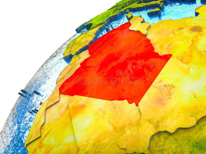 Algerije op 3D Aarde stock illustratie