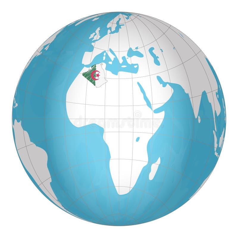 Algerije op de bol De aardehemisfeer centreerde bij de plaats van de Mensens Democratische Republiek Algerije algerije stock illustratie