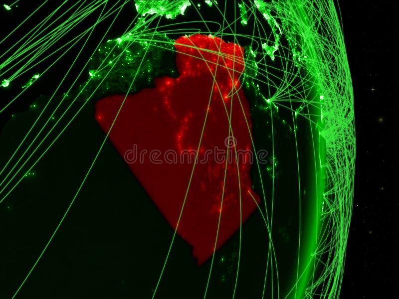 Algerije op groene Aarde stock illustratie