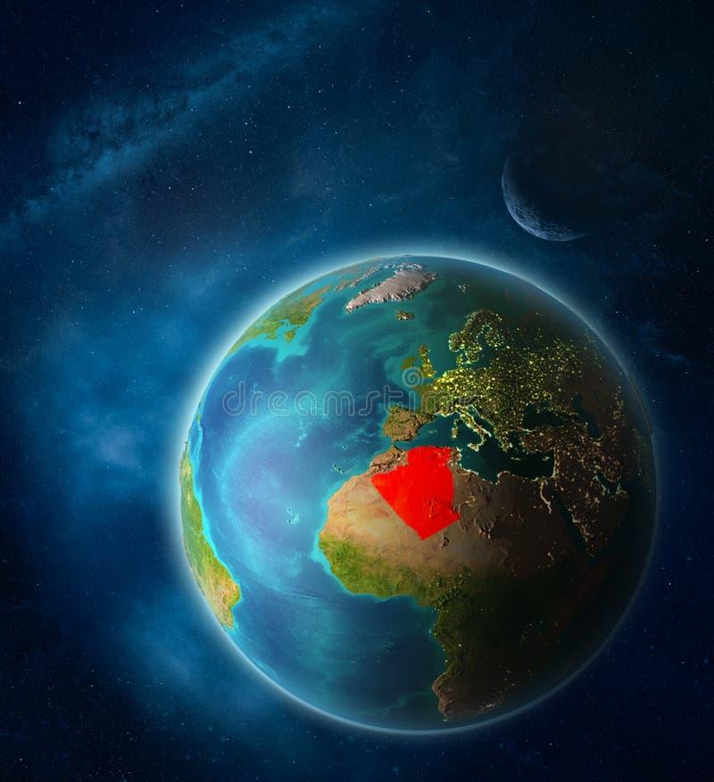 Algerije ter wereld van ruimte stock illustratie