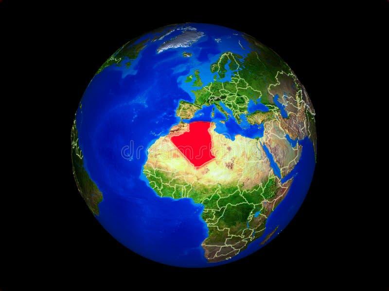 Algerije ter wereld van ruimte vector illustratie