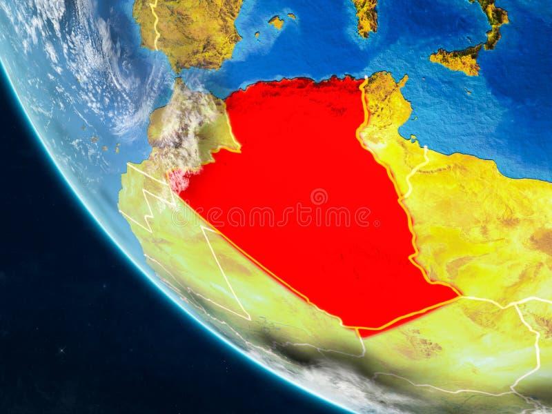 Algerije van ruimte ter wereld vector illustratie