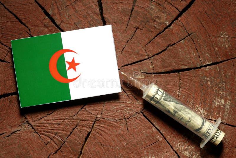 Download Algerische Flagge Auf Einem Stumpf Mit Der Spritze, Die Geld Einspritzt Stockbild - Bild von algerien, ernstlich: 96931299