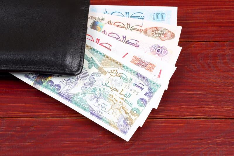 Algeriska pengar i den svarta plånboken royaltyfria foton