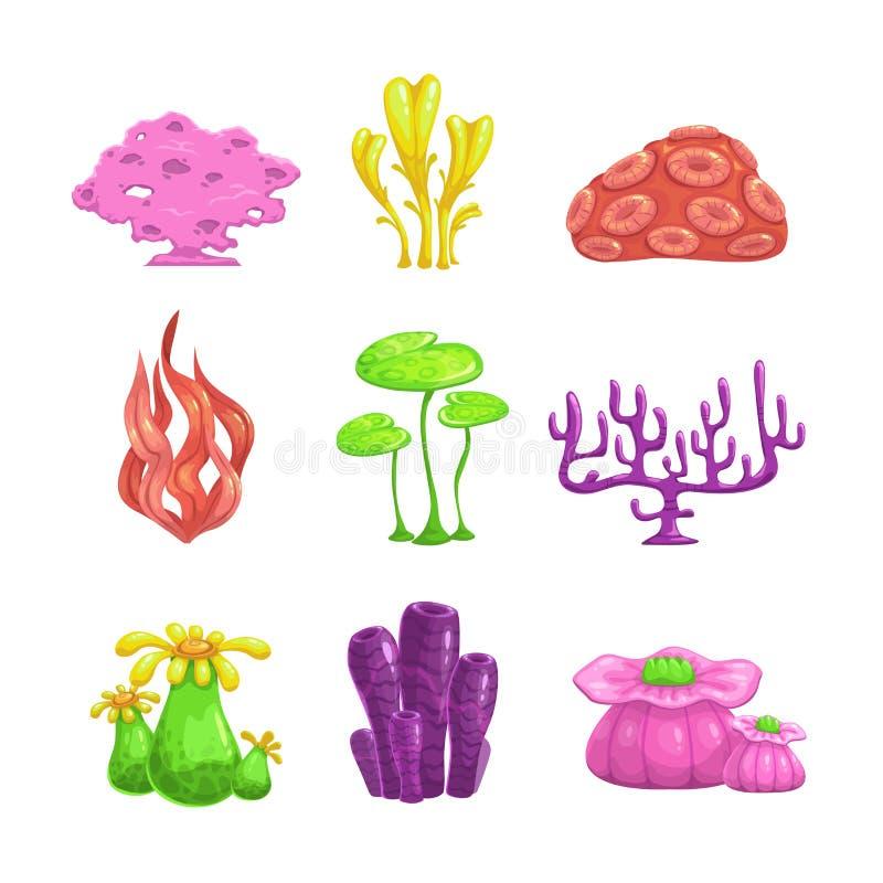 Alghe del fumetto messe illustrazione vettoriale