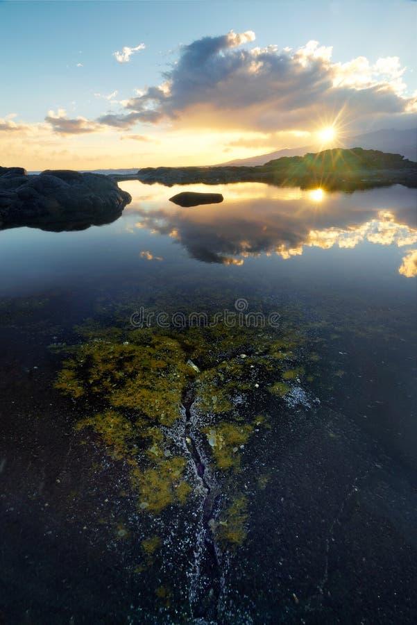 Alghe sopra una spaccatura alla La Houssaye del cappuccio a St Paul, Reunion Island fotografia stock