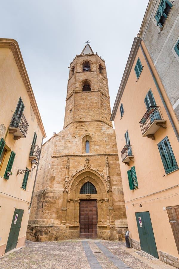Alghero Catherdral in Sardinige, Italië stock afbeeldingen