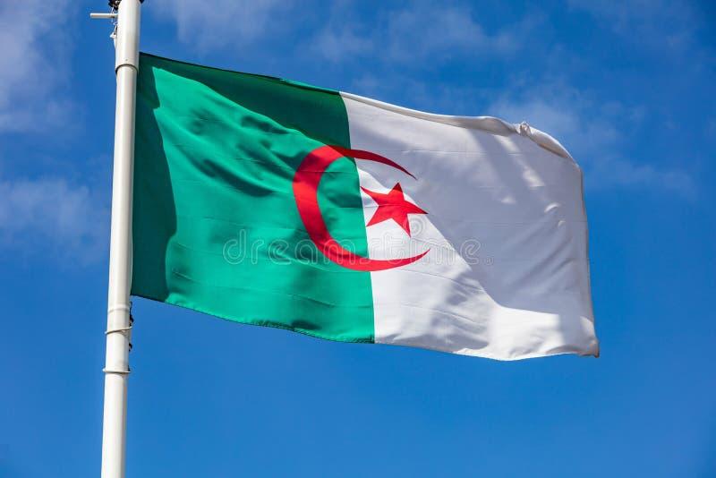 Algierczyka chorągwiany falowanie przeciw jasnemu niebieskiemu niebu fotografia stock