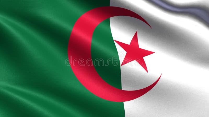 Algieria flaga z falowanie tkaniny teksturą, zdjęcie stock
