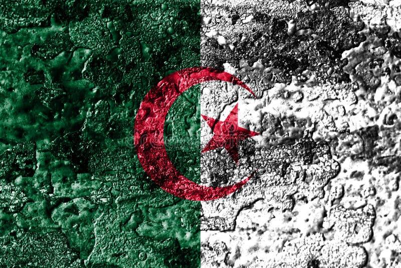 Algieria grunge rdzewiał metal tekstury flaga, zrudziały metalu tło zdjęcie stock