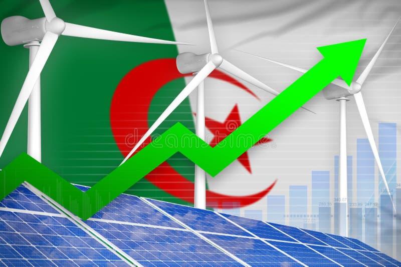 Algieria słonecznej i wiatrowej energii wydźwignięcia mapa, strzała w górę - odnawialnej naturalnej energii przemysłowej ilustrac ilustracji