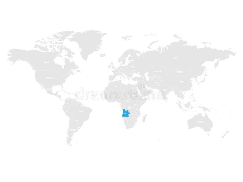 Algieria zaznaczał błękitem w popielatej Światowej politycznej mapie również zwrócić corel ilustracji wektora ilustracja wektor