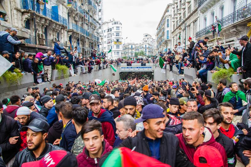 Historical protests in Algeria for changement. Algiers, Algeria - March 01 2019 : Important peaceful demonstrations in the Algerian capital; Algiers, protesting royalty free stock image