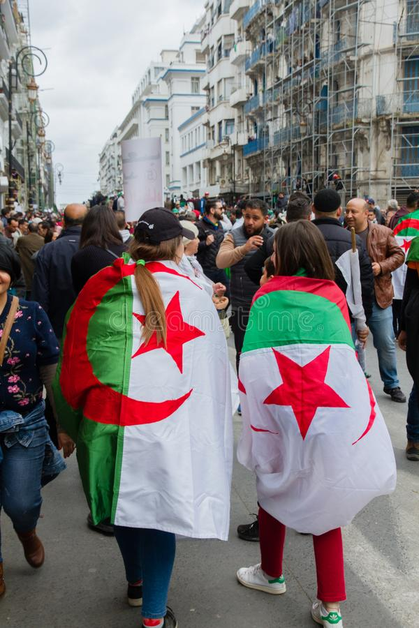 Historical protests in Algeria for changement. Algiers, Algeria - March 01 2019 : Important peaceful demonstrations in the Algerian capital; Algiers, protesting stock images
