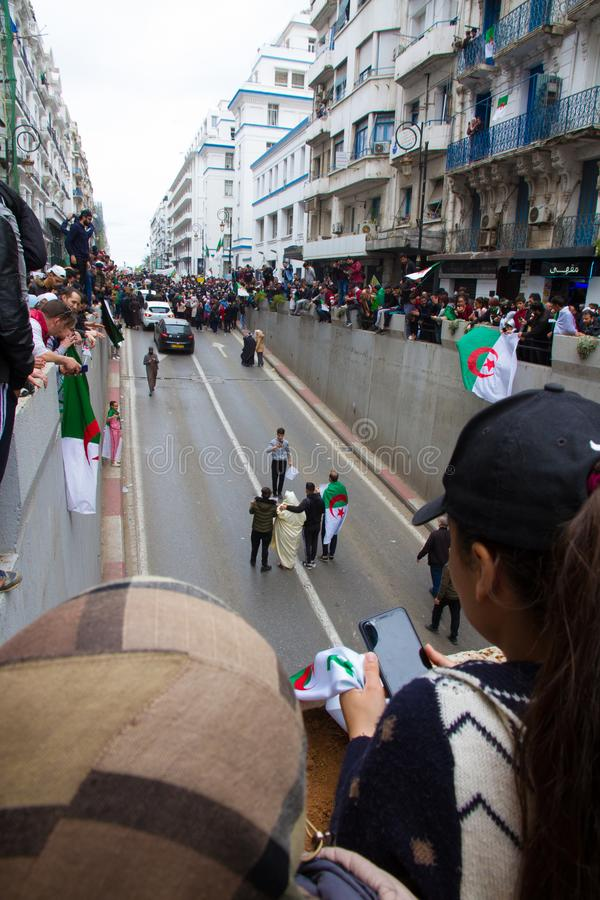 Historical protests in Algeria for changement. Algiers, Algeria - March 01 2019 : Important peaceful demonstrations in the Algerian capital; Algiers, protesting stock photo