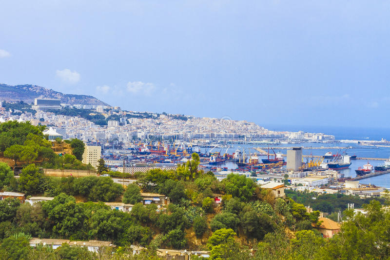 Algiers. The overview of Algiers and the port, Algeria royalty free stock photo
